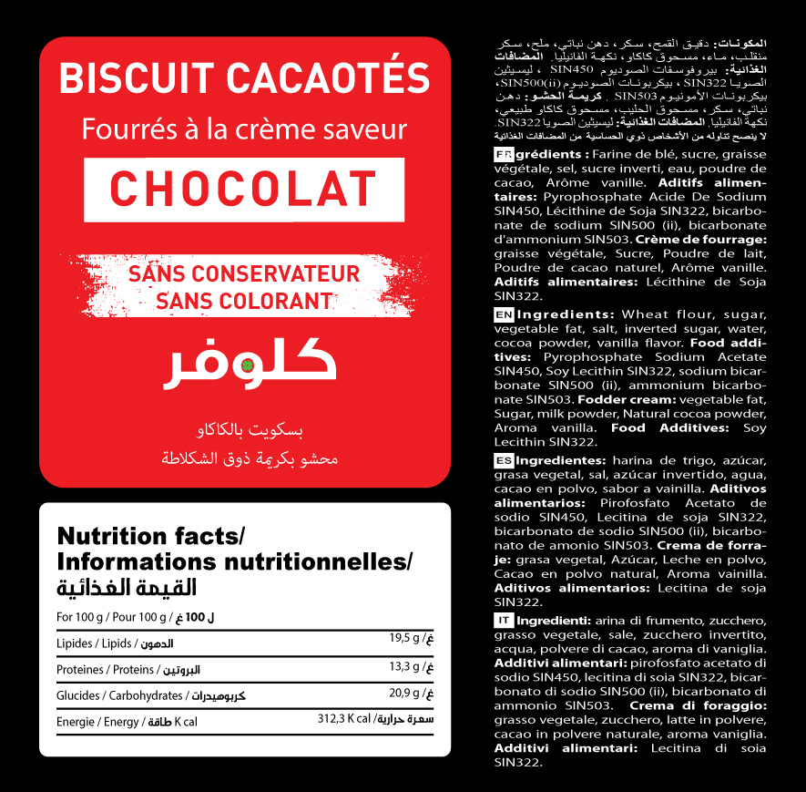 biscuits cacaoté chocolat clover